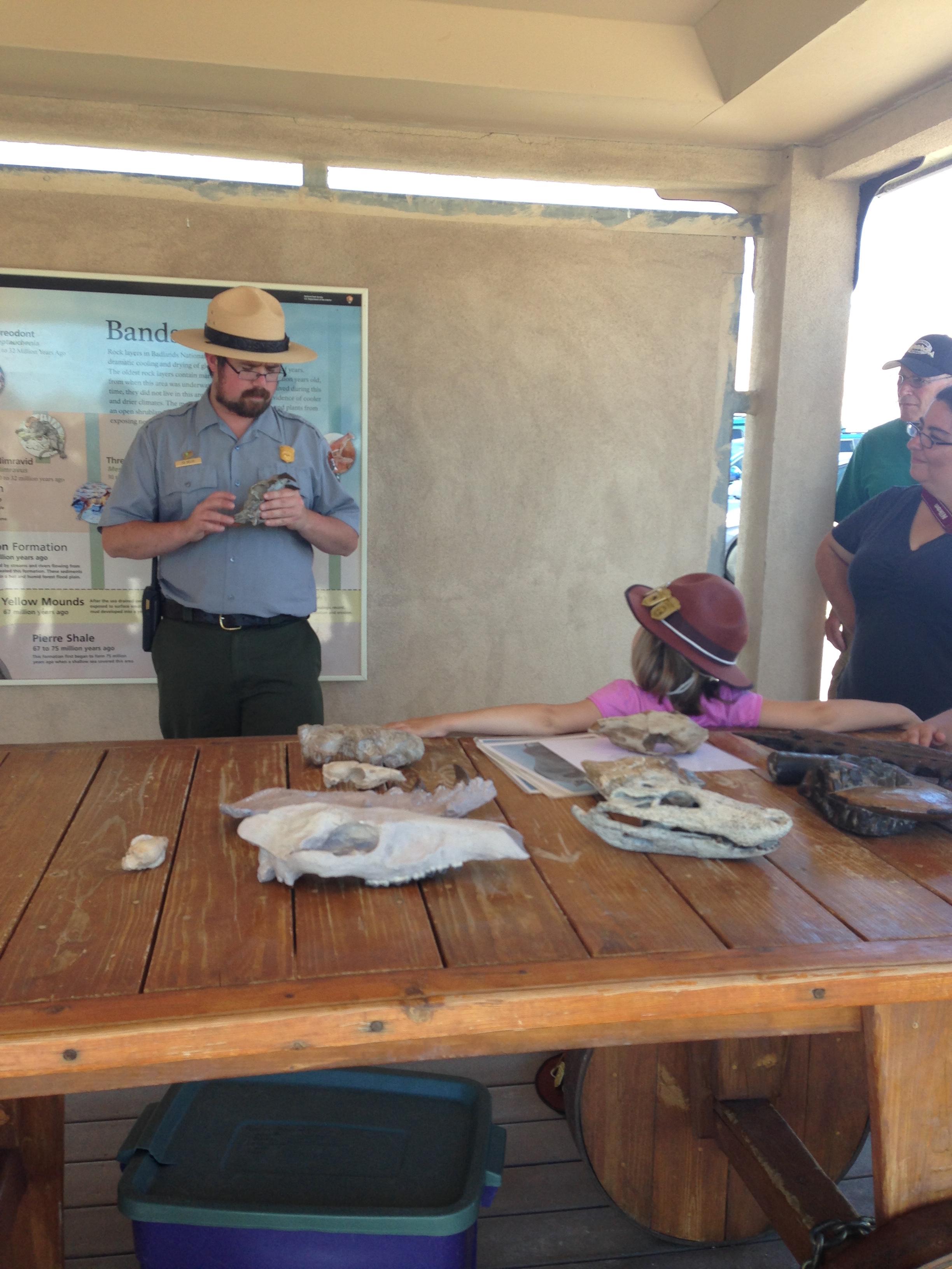 Badlands ranger giving talk on fossils